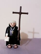 Playmobil monk with cross, templar, priest, collectable, rare, Brand New