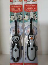 Brush Buddies Panda Bear Light-Up Child Toddler Toothbrush Soft Bristle Lot of 2