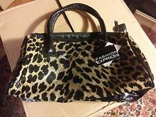 015 NWT FAshion Express Leopard Handbag Purse Vinyl Heart Zipper Pull