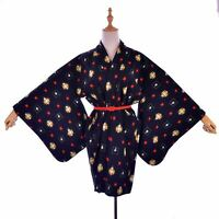 Japanese Vintage Black Abstract Wool Kimono Black Wool Haori Silk thin Belt