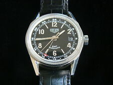 HEUER PRE CARRERA WS2113 PILOT RACER MILITARY AUTOMATIC GMT WATCH TWO STRAPS BOX