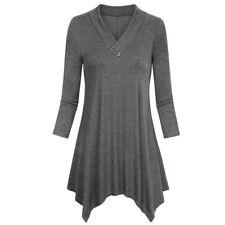Women Button Plus Size Tunic T-Shirt Casual Tops Blouse Long Sleeve Loose Shirt