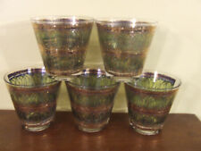 5 Georges Briard Mid Century Modern Old Fashioned Glasses Green & Gold Euc