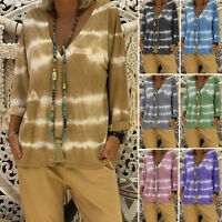 Plus Size Women's Boho V Neck Long Sleeve T-shirt Tie Dye Tops Casual Blouse Tee