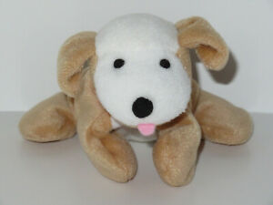"Hallmark Puppy Dog Plush Bean Bag Tan White Red Collar Stuffed Brown Vintage 7"""