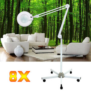 8 Dioptrien LED licht Lupenlampe Lupe Arbeitsleuchte Kosmetik mit Stativ DHL