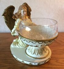 Beautiful Angel Candy Bowl Crackle Glass White And Gold On Base With Box