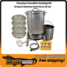 Crawfish Cooking Kit 62 Quart Premium Stainless Steel Hold up to 20 Lbs