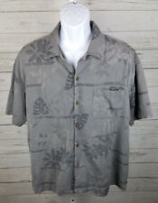 Mens Vintage Silk Circa 1969 Gray Hawaiian Short Sleeve Shirt Size XL Tropic