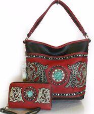 Montana West® Western Embroidered Bucket Hobo + Wristlet Wallet- Black/Red