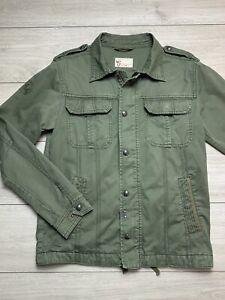 ZARA MAN Military Style Lightweight Denim Jacket | Medium M | Olive Green