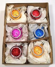 6 VINTAGE 1970's CONCAVE GLASS CHRISTMAS TREE BAUBLES ORNAMENTS GLITTER CB62
