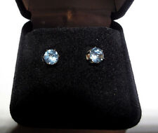 Stone Fancy Stud Earrings Sterling Silver 5mm Light Blue