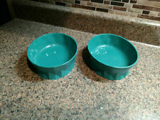 """Set 2 Piece Cat Dog Food Water Food Pet Bowls Plastic Pair Turquoise Oval 6"""""""