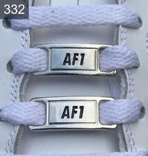 ❤️ Neue Nike Air Force 1 Schnallen Silber Schwarz Lace Locks 2 Stück✅