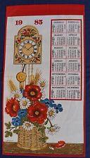 1985 Calendar Retro Souvenir Unused COTTON Tea Towel FLOWERS CLOCK Poppy Daisy