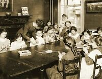 """1910 Girls in Knitting Class, New York City, NY Old Photo 8.5"""" x 11"""" Reprint"""