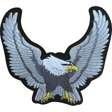 American Bald Eagle Embroidered Patch on Gold Tan or Silver  Biker Iron On NEW