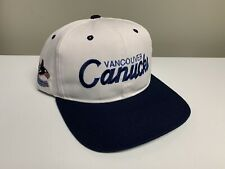 Vintage Vancouver Canucks Script Snapback Sports Specialties Orca White Blue Nhl