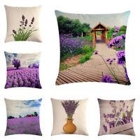 """Cotton Linen Lavender Manor Throw Pillow Case Cushion Cover Home Sofa Decor 18"""""""