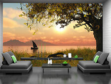3D Boat in the River Wall Mural Photo Wallpaper GIANT DECOR Paper Poster