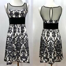 Anthropologie TRACY REESE Plenty Silk White Black Sleeveless Dress Size 6 / S
