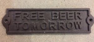 small FREE BEER TOMORROW Plate Plaque cast iron metal with rustic brown finish