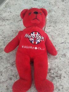 "Hard Rock Cafe Toronto Canada Red Teddy Bear Plush/Beany 8"" W/Tag"
