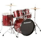 Ludwig Backbeat Complete 5-Piece Drum Set w/Hardware, Cymbals Wine Red Sparkle