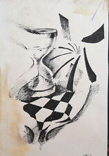 1989 Abstract surrealist ink drawing signed