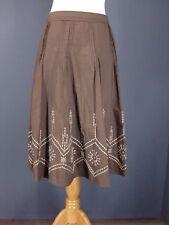 MICHAEL KORS Skirt 10 Brown Embroidered Pintucked A-Line