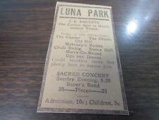 ORIGINAL - 1911 LUNA PARK - COASTER / THE CHUTES / OLD MILL ECT - AD SCRANTON PA