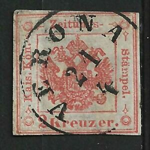 AUSTRIA VENEZIA 1858 NEWSPAPER REVENUE STAMP, USED, VERONA CANCEL