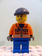 LEGO Minifig cty168 @@ Construction Worker - Orange Zipper, Safety Stripes 3181
