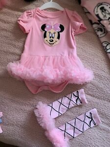 Luxury Minnie Mouse Tutu + Matching Socks Baby Girl 9-12 Months