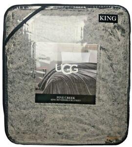 UGG Pine Creek Faux Fur Reversible Blanket / Lrg Throw King Chocolate Brown $200