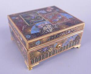 Fine Old Antique Japanese Meiji Period Cloisonné Box Ota Jinnoei