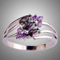 Marquise & Round Cut Rainbow Topaz & Amethyst Gemstone Silver Ring Size L N P R