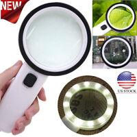 30X High Power Handheld Magnifying Glass Led Light Jumbo Illuminated Magnifier N