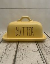 Rae Dunn 'BUTTER' Yellow Ceramic Covered Butter Dish Large Letter Farmhouse. NEW