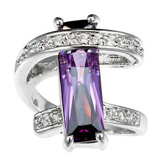 925 Silver Rectangle Amethyst White Sapphire Rings Wedding Engagement Cocktail