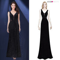 US Black V-Neck Mermaid Formal Wedding Bridesmaid Dresses Long Party Prom Gowns