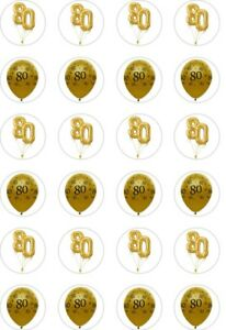 24 x PRECUT GOLD 80TH BIRTHDAY/80 YEAR OLD RICE/WAFER PAPER CUP CAKE TOPPERS