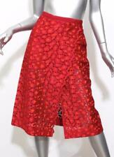 SACAI 2761 Womens Red+Orange Embroidered Lace Knit Slit Straight Skirt 1 NEW