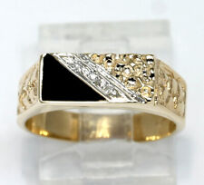 Diamond onyx nugget ring 14K 2 tone gold round triangle cabochon .30CT sz 6 1/2