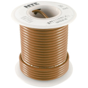 NTE Electronics WHS18-01-25 HOOK UP WIRE 300V SOLID 18 GAUGE BROWN 25'