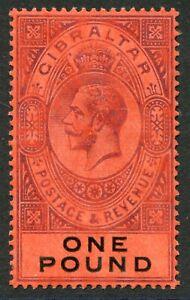 Gibraltar 1912-24 wmk. MCA £1 SG 85 hinged mint (cat. £140)