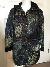 BNWT TOPSHOP PEACOCK PRINTED HOODED LIGHTWEIGHT JACKET PARKA PURPLE MULTI SIZE 8