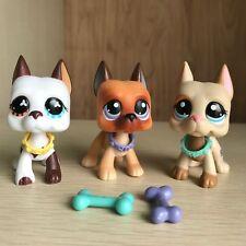 3 Littlest Pet Shop LPS Toy Great Dane dogs 577 244&5Pcs Bone Bowl Authentic