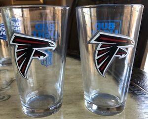 Atlanta Falcons Bud Light NFL Lot of Two 16oz. Pint Glasses - Brand New FALCONS